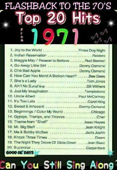 Oh, I loved Donny Osmond! and Cher! So many of these songs take me back to my earliest years! Music Hits, 70s Music, Top 20 Hits, Nostalgia, Mending A Broken Heart, Song List, Song Playlist, I Remember When, Joy To The World