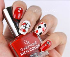 Nail art tutorial dry marble. #HarleyQuinn Nails