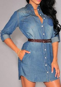 New Women Blue Plain Belt Buttons Three Quarter Length Sleeve Denim Mini Dress