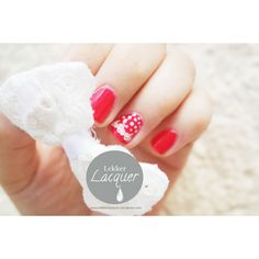 Red nails with polks dots and lace :)