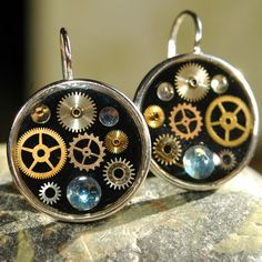 Steampunk Watch Part Earrings Assemblage Silver Gears by 17jewels, $37.99