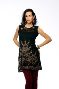 Code - 7230  Black cotton hand painted tunic with styling on the yoke.