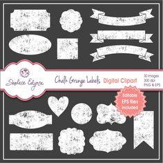 Chalk Grunge Labels Digital Clipart Instant by ShaleceElynne, $7.99 #chalkboard #labels #Etsy #clipart