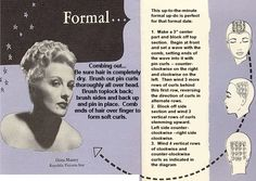 Pin curl diagram for a formal updo. #vintage #1940s #hair #hairstyles