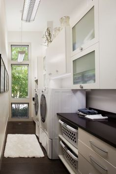 Classic and Contemporary – Designer Amanda Webster adheres to classic and contemporary aesthetics for this light and narrow laundry room. Decor, Home, Small Laundry Rooms, Room Remodeling, Laundry, White Cabinetry, House, Garage Laundry, Room