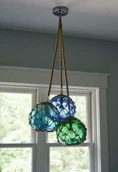 Glass Fishing Float Cluster Pendant Light, with 3 Floats and rope covered chains - All For Decoration Decor, Coastal Decor, Dimmable Led Lights, Beach House Decor, Cottage Decor, Cluster Pendant Lighting, Beach Cottages, Glass Fishing Floats, Beach Decor
