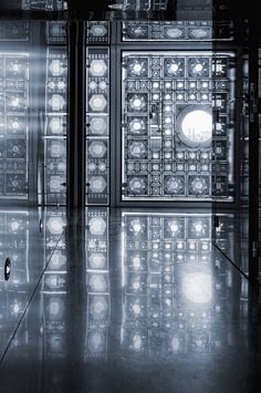 ❦ France - Paris - Arab Institute - Interior corridor mono (by Darrell Godliman)