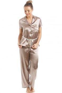 fdddc98252 Taupe Short Sleeve Belted Satin Pyjama Set Satin Pyjama Set