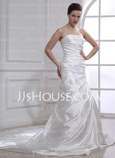 Wedding Dresses - $182.99 - Sheath/Column Strapless Cathedral Train Charmeuse Wedding Dress With Ruffle Lace (002012636) http://jjshouse.com/Sheath-Column-Strapless-Cathedral-Train-Charmeuse-Wedding-Dress-With-Ruffle-Lace-002012636-g12636