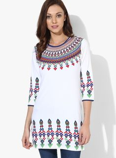 GO DESI! Stand out of the crowd with Indian ethnic patterns..  SHOP HERE---> http://www.jabongworld.com/white-kurtis-kurtas-2123750.html
