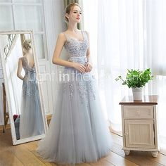 Formal Evening Dress Sheath / Column V-neck Sweep / Brush Train Lace / Tulle with Lace 2017 - €88.19