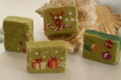 wool felt soap | Felted Soap with needle felted designs | Living Felt