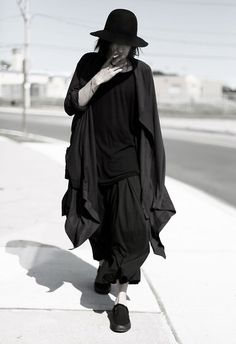 Ccp Double Buckle Belt Number (N)Ine Preacher Hat Rick Owens Tee Number (N)Ine Cape Yohji Yamamoto Hakama Vans Slips On Street Goth, Street Style, Street Wear, Dark Fashion, Mens Fashion, Goth Ninja, Vetements Clothing, Poses References, Looks Black