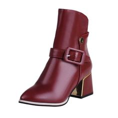 MayMeenth Women's Solid PU High-Heels Zipper Pointed Closed Toe Boots >>> Details can be found by clicking on the image.