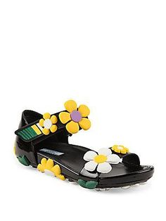 8b9a01f7fa974 Prada - Flower-Embellished Patent Leather Grip-Tape Sandals