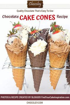 Lean how to make cake cones with this fun recipe using ice cream waffle cones, chocolate bark, chocolate covered strawberries, chocolate dipped cherries, and of course cake. Great for your New Year's Eve Party - it's a dessert that is sure to wow. Chocolate Waffles, Tasty Chocolate Cake, Chocolate Bark, Chocolate Dipped, Waffle Cone Recipe, Ice Cream Waffle Cone, Chocolate Strawberries, Chocolate Covered Strawberries, Strawberry Chocolate Cakes