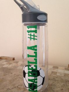 Soccer Water bottle for my daughter.  Vinyl on acrylic with cameo silhouette