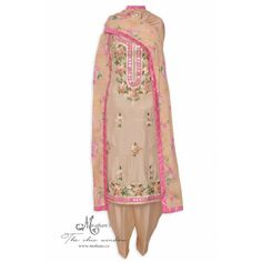 Ethnic beige unstitched suit accentuated with intricate gota and thread work-Mohan's the chic window