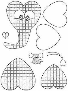 Elefante: moldes de corazones