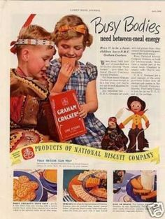 """Nabisco Graham Crackers Ad """"Busy Bodies... (1938)"""