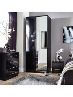 Avola Grey Gloss Door Drawer Combi Wardrobe With Mirror - Prague bedroom furniture set