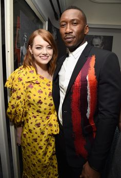 """Emma Stone WON for Best Actress In A Leading role for film """"La La Land.""""  Mahershala Ali (pictured right), WON for Best Supporting Actor for film """"Moonlight."""" Congratulations!"""