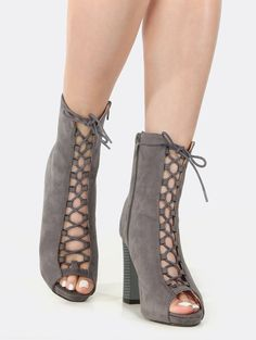 Online shopping for Peep Toe Lace Up Chunky Heel Booties GREY from a great selection of women's fashion clothing & more at MakeMeChic.COM.