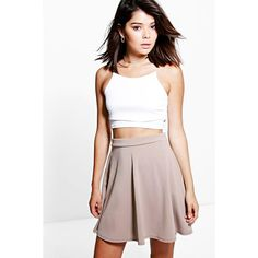 Boohoo Night Roseanna Fit and Flare Skater Skirt ($14) ❤ liked on Polyvore featuring skirts, sand, midi skirt, bodycon skirt, flared skirt, pleated skirts and white knee length skirt