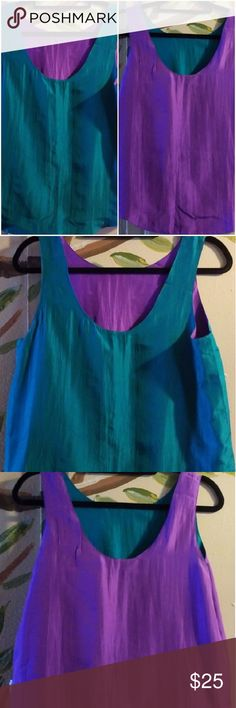 """PENS'EE Women's 100% Silk Reversible Tank Top Sml PENS'EE  100% Silk Women's Size Small  Reversible Tank Top  Peacock Green & Purple  The possibilities are endless with this versatile, chic top Slightly rounded hem  Measures  19"""" armpit to armpit Front flat lay  23"""" Shoulder to hem  EXCELLENT CONDITION Pens'ee Tops Tank Tops"""