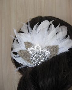 Wedding bridal feather fascinator hairpiece accessory by LeFlowers, $55.00