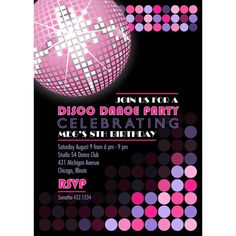 Disco Dance Party Birthday  Printable by arpartyprintables on Etsy, $18.00