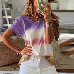 Rainbow Gradient Print Plus Size O-neck Short Sleeve Blouse - Power Day Sale All Fashion, Ootd Fashion, Fashion Styles, Blouses For Women, Sweaters For Women, Women's Blouses, Tunics, Fall Collection, Cute Fall Outfits