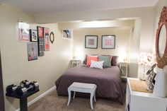 Guest Room | Pride & Joyce // gray, coral, bedroom