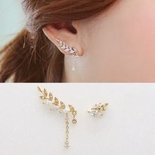 New Hot Fashion Elegant Rhinestone Wheat Golden Silvery Asymmetric Leaf Crystal Stud Earrings for Women Jewelry(China (Mainland))