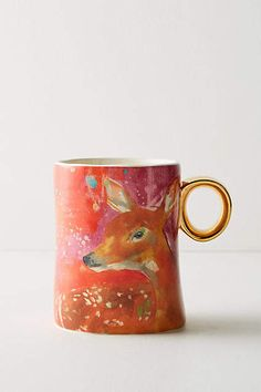 Lauren Carlson Walcott Winter Fauna Mug. Cute mug! I have a friend who's obsessed with deer so this would make a great gift! #ad #anthropologie #anthrofave #giftideas