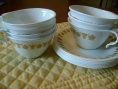 CORELLE VINTAGE GOLD Retro Butterfly Cups and by FamilyandFaith,