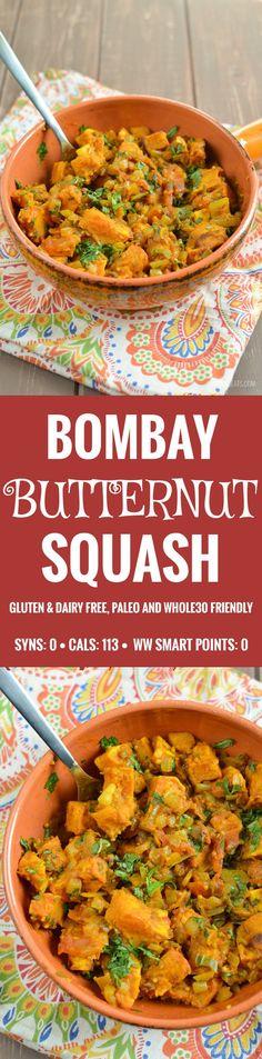 Slimming Eats Bombay Butternut Squash - gluten free, dairy free, vegetarian, paleo, Whole30, Slimming World and Weight Watchers friendly