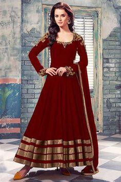 Maroon Georgette Anarkali Churidar Suit Online(1707B)   www.andaazfashion.co.uk/salwar-kameez/anarkali-suits/festivalwear