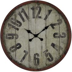 """Cooper Classics' Oleshia is a lovely 24"""" oversized wall clock that is perfect for adding texture to any wall. Constructed from metal, the clock features a traditional plank-designed face with bold Arabic numerals, finished in an aged red color with black undertones. Classic black spade-shaped hands sit at the center of the dial, all under a glass lens."""