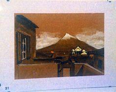 Vista do Pico a partir da Horta, Ilha do Faial, Açores. Aguada de Tinta da China.