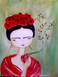 Frida Kahlo with Poppies, Darkling Woods