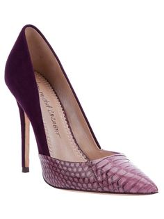 Rose/purple leather pump heel from Jean-Michel Cazabat featuring a pointed toe in a contrasting animal print, a suede sides and back, a suede stiletto heel and a leather sole.