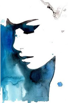 negative space watercolor Print from original watercolor fashion illustration by Jessica Durrant titled Black and Blue for You Watercolor Fashion, Watercolor And Ink, Watercolor Paintings, Space Watercolor, Watercolor Ideas, Tattoo Watercolor, Fashion Painting, Watercolor Design, Watercolor Portraits