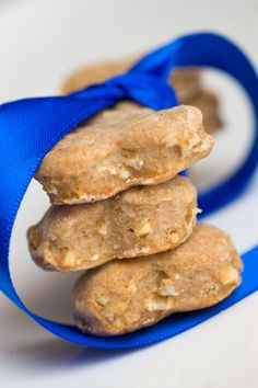 Peanut Butter, Honey & Oats Dog Treats - My dog loved these.  I dipped one half of each biscuit in melted chocolate candy coating.  It's perfectly dog safe and he likes to lick it off like an Oreo, LOL.