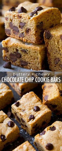 Super soft and extra chewy chocolate chip cookies as bars! No dough chilling, no mixer, and no rolling into balls! Recipe on soft and extra chewy chocolate chip cookies as bars! No dough chilling, no mixer, and no rolling into balls! No Bake Desserts, Just Desserts, Delicious Desserts, Dessert Recipes, Bar Recipes, Baking Desserts, Recipes Dinner, Dessert Bars, Cake Bars