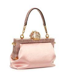 Dolce & Gabbana Vanda crystal-embellished satin bag (258.835 RUB) ❤ liked on Polyvore featuring bags, handbags, dolce gabbana purses, white studded purse, studded purse, white satin purse and white purse