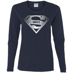 Men's Super Uncle T-Shirt is the Best Tee Shirt From Niece Nephew-01 G540L Gildan Ladies' Cotton LS T-Shirt