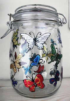 Okay, I have loads of jars. I also have glass paints. Hmmm......light-bulb moment! Great for storing lentils, rice, pasta etc