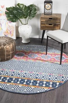 This stunning collection of Bohemian / Tribal style rugs, available in vivid brights and soft neutral palettes to suit various design themes. Constructed by power loom in polypropylene, made in Turkey and 10mm pile with an array of shapes and sizes - being available in rectangular, runner and even round ranges- this rug is timeless in more ways than one. Home Decor Bedding, Round Rug Living Room, Round Carpets, Tribal Style Rugs, Round Rugs, Rugs Australia, Circular Rugs, Floor Area Rugs, Area Rugs