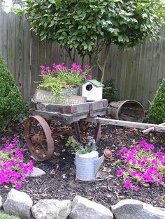 Old cart bird house watering can
